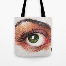 Eyes girl are looking something Tote Bag