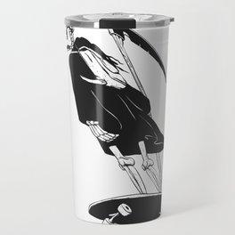 Grim reaper skater - funny skeleton - gothic monster - black and white Travel Mug