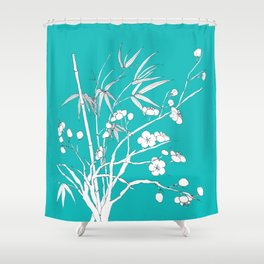 bamboo and plum flower white on blue Shower Curtain