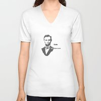 lincoln V-neck T-shirts featuring Abebroham Lincoln by Spooky Dooky