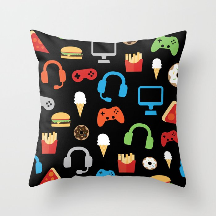 Video Game Party Snack Pattern Throw Pillow