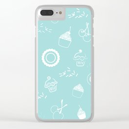 Cupcake Pastry Background - Turquoise 07 Clear iPhone Case