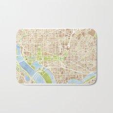 Washington DC watercolor city map Bath Mat
