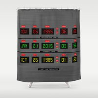 back to the future Shower Curtains featuring BACK TO THE FUTURE by MiliarderBrown