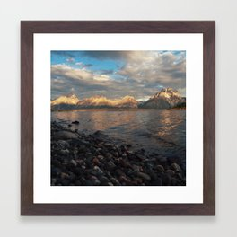 First Light on the Tetons and Jackson Lake Framed Art Print