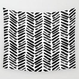 Simple black and white handrawn chevron - horizontal Wall Tapestry