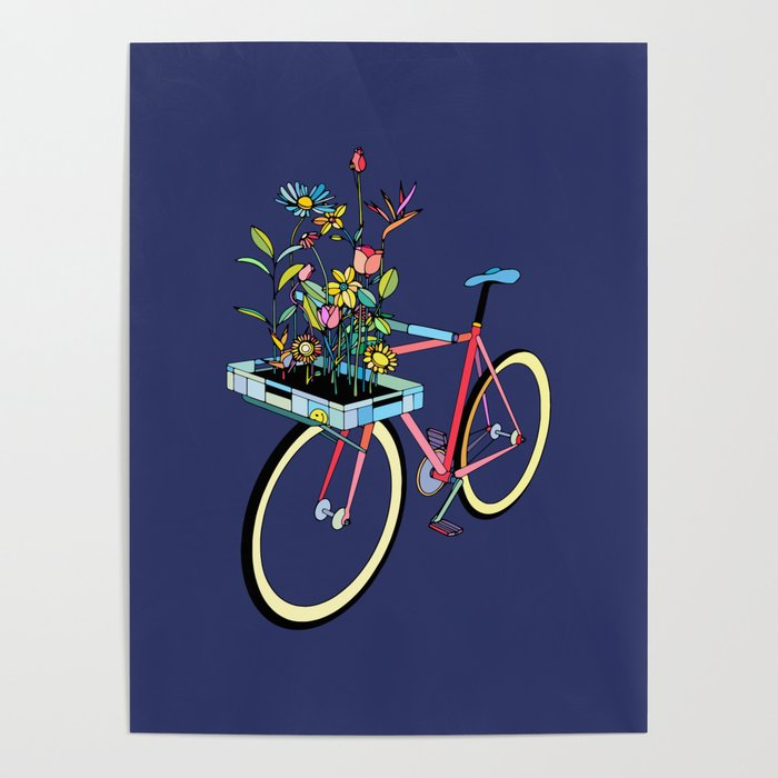 Bike and Flowers Poster