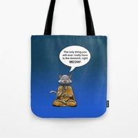 buddah Tote Bags featuring Buddah Cat by The Big Bad Dream Machine