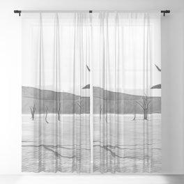 deadvlei desert trees acrbw Sheer Curtain