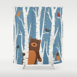 Bear and Birches Shower Curtain