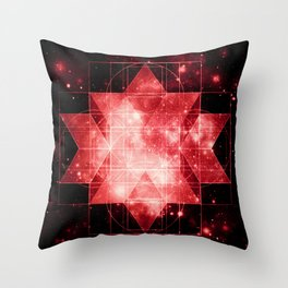 Red Galaxy Sacred Geometry: Rhombic Hexecontahedron Throw Pillow