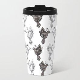 black and white lovebird pattern Travel Mug
