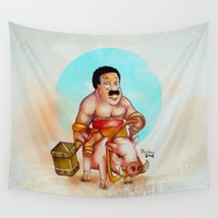 cleveland Wall Tapestries featuring Cleveland rider by Nicolaine