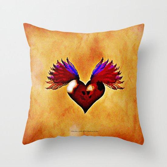 FLYING SKULL HEART Throw Pillow