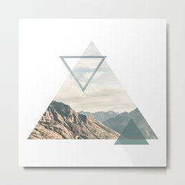 Mountain with Shapes Metal Print