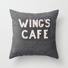wings cafe Throw Pillow