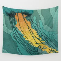 jellyfish Wall Tapestries featuring Jellyfish  by Stranger Designs