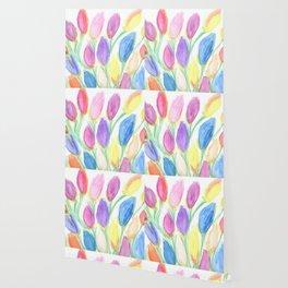 Multicolor Watercolor Flowers Wallpaper