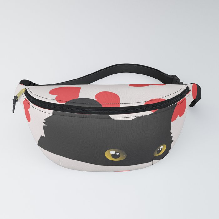 Black Cat Hiding in the Hearts Fanny Pack