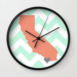 San Diego California in Coral on Mint Chevron Wall Clock