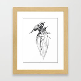 Kingfisher 1a. Black on white background-(Red eyes series) Framed Art Print
