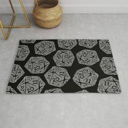 d20 - white on black - icosahedron doodle pattern Rug