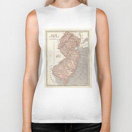 Vintage Map of New Jersey (1845) Biker Tank