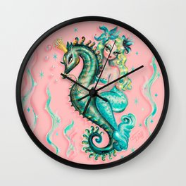 Mermaid Riding a Seahorse Prince Wall Clock