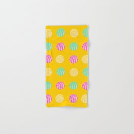 Mexican pan dulce conchas mustard background pattern Hand & Bath Towel