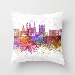 San Salvador skyline in watercolor background Throw Pillow