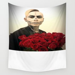 Skull Tux And Roses Photograph Wall Tapestry