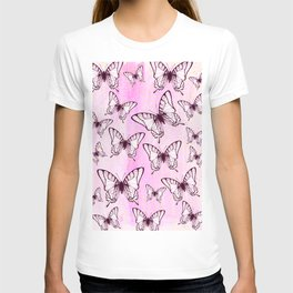 butterfly pattern on pastel pink T-shirt