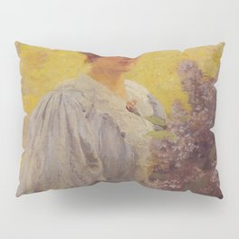 Hans Gude Painting -  Ung Dame Med Syriner 1897  | Reproduction | Norwegian Art Pillow Sham