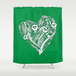 Skeletal Love (Green) Shower Curtain