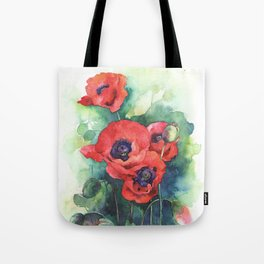 Watercolor red poppy flowers Tote Bag