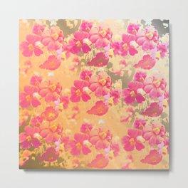 flowers, flowers, rose, silver, orange, gold, colored, vintage, elegant, textile, Metal Print