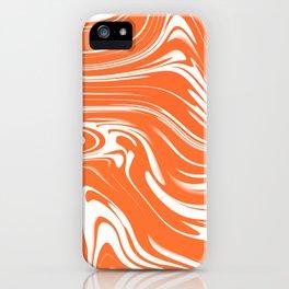 JULIUS orange and white abstract swirl design iPhone Case