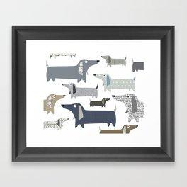 Wiener Dog Pattern Framed Art Print