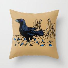 Satin Bower Bird Throw Pillow