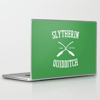 quidditch Laptop & iPad Skins featuring Hogwarts Quidditch Team: Slytherin by IA Apparel