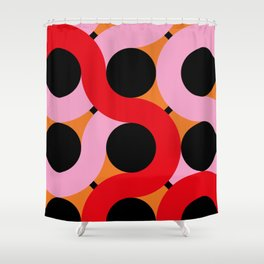 Black circles being surrounded by red and pink curves. All happening in an orange landscape. Shower Curtain