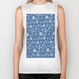 Snowflake Snowstorm With Sky Blue Background Biker Tank