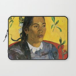 Tahitian Woman with a Flower by Paul Gauguin Laptop Sleeve