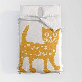 Orange cat illustration, cat pattern Comforters