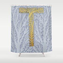 Botanical Metallic Monogram - Letter T Shower Curtain