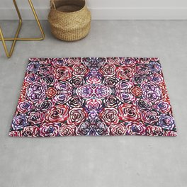 Dark Red and Blue Roses Watercolor Rug