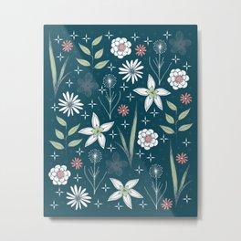 retro floral print on dark background Metal Print