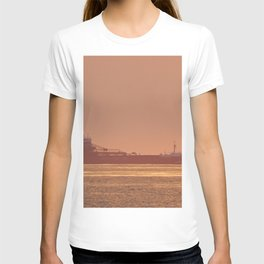 Ship under Copper Sunset Lightning T-shirt