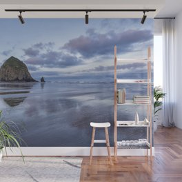 Haystack Rock at Low Tide in Early Morning Wall Mural