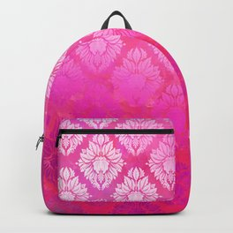 """Magenta Pink Damask Pattern"" Backpack"